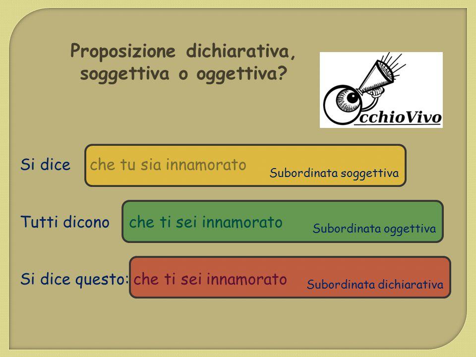 Proposizione dichiarativa, soggettiva o oggettiva