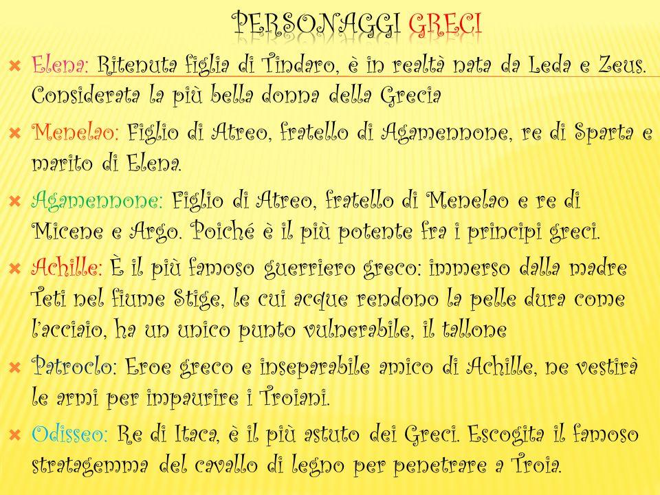 PERSONAGGI greci Elena: Ritenuta figlia di Tindaro, è in realtà nata da Leda e Zeus. Considerata la più bella donna della Grecia.