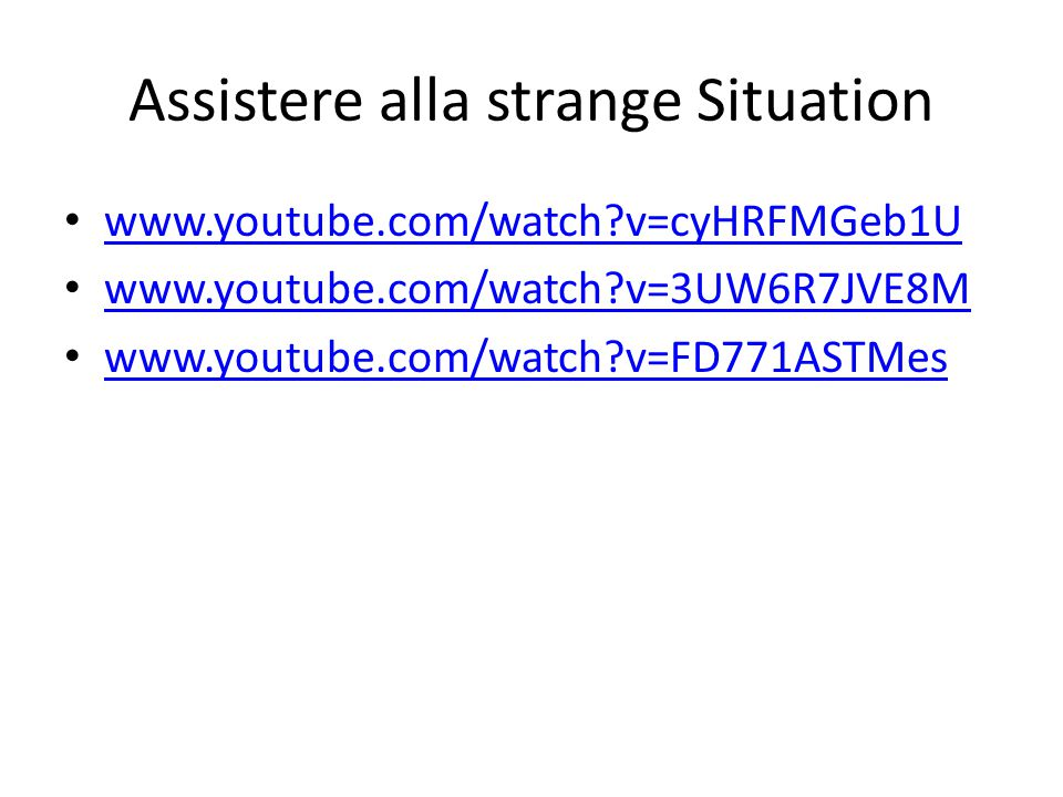 Assistere alla strange Situation