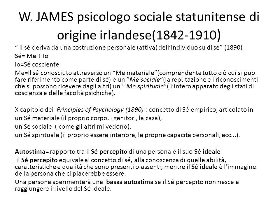 W. JAMES psicologo sociale statunitense di origine irlandese(1842-1910)