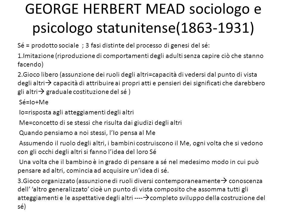 GEORGE HERBERT MEAD sociologo e psicologo statunitense(1863-1931)