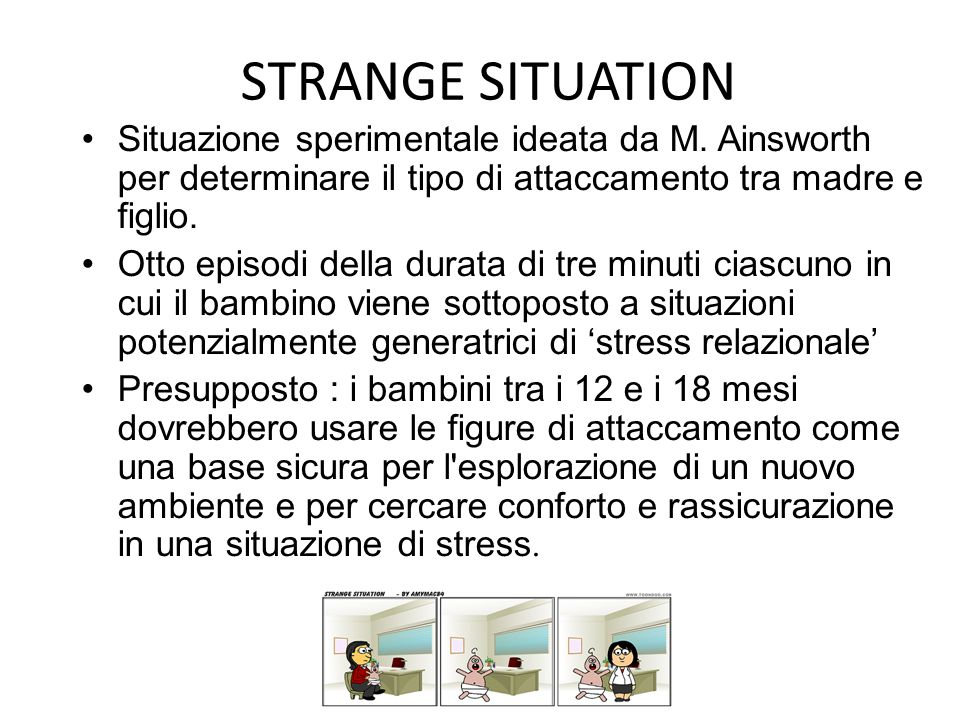 STRANGE SITUATION Situazione sperimentale ideata da M. Ainsworth per determinare il tipo di attaccamento tra madre e figlio.