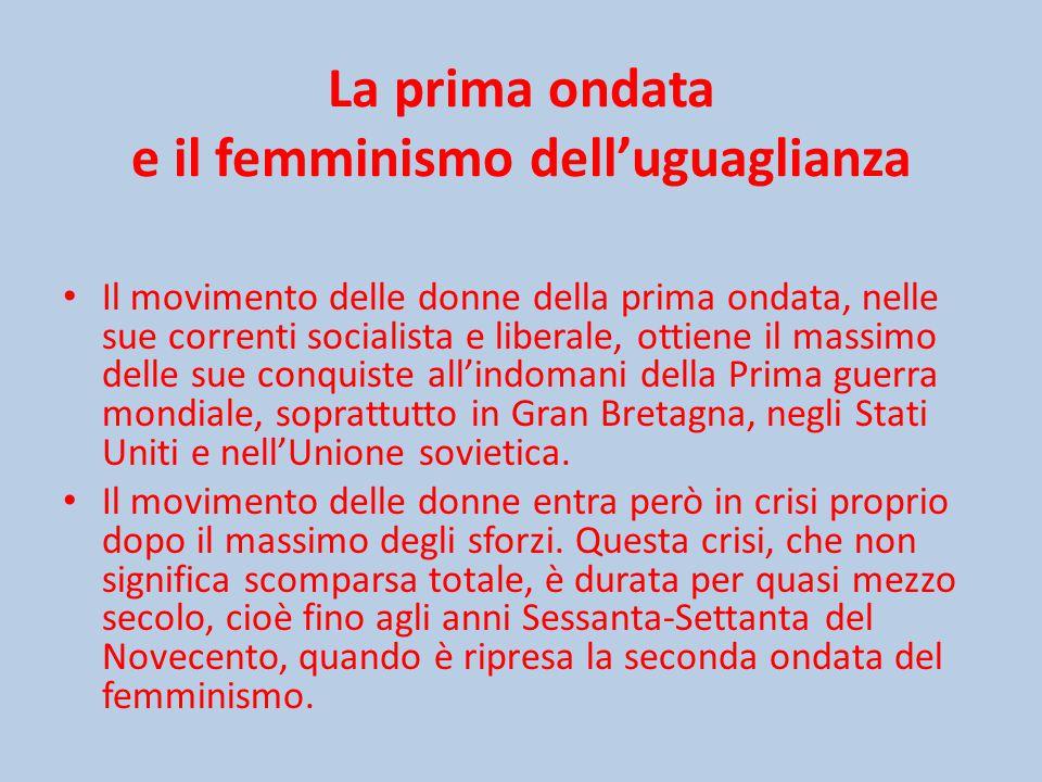 La prima ondata e il femminismo dell'uguaglianza