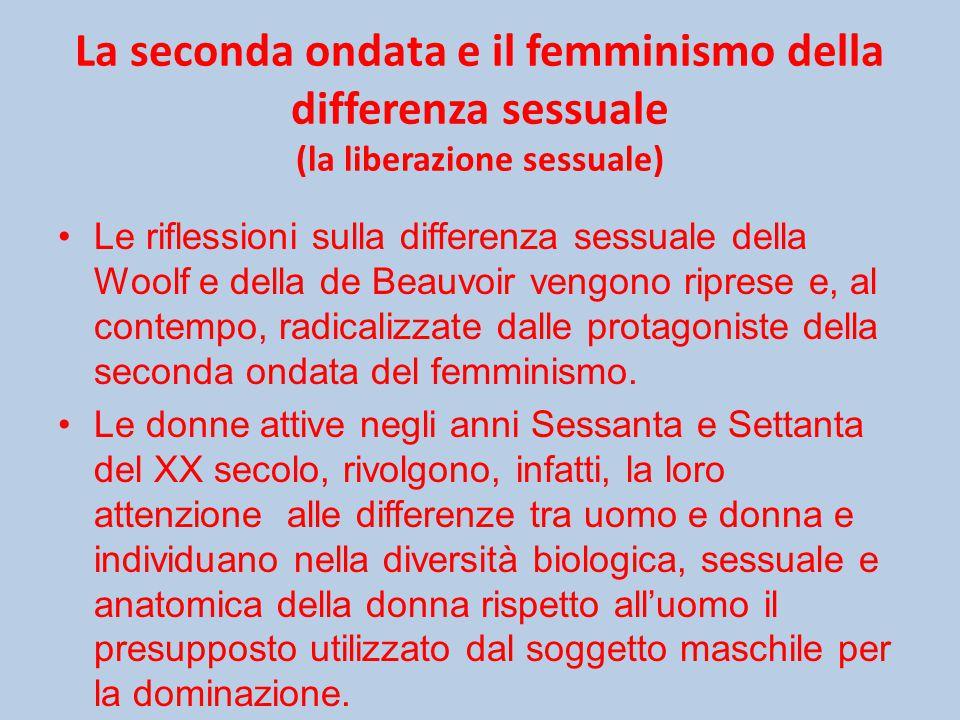 La seconda ondata e il femminismo della differenza sessuale (la liberazione sessuale)