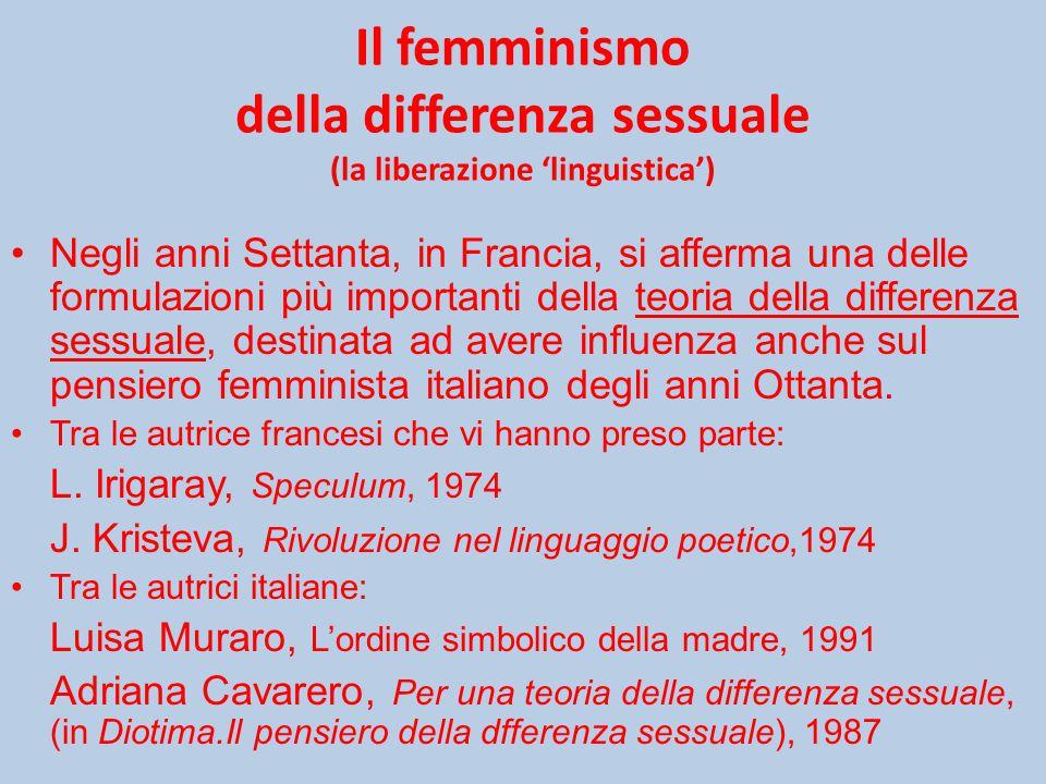 Il femminismo della differenza sessuale (la liberazione 'linguistica')
