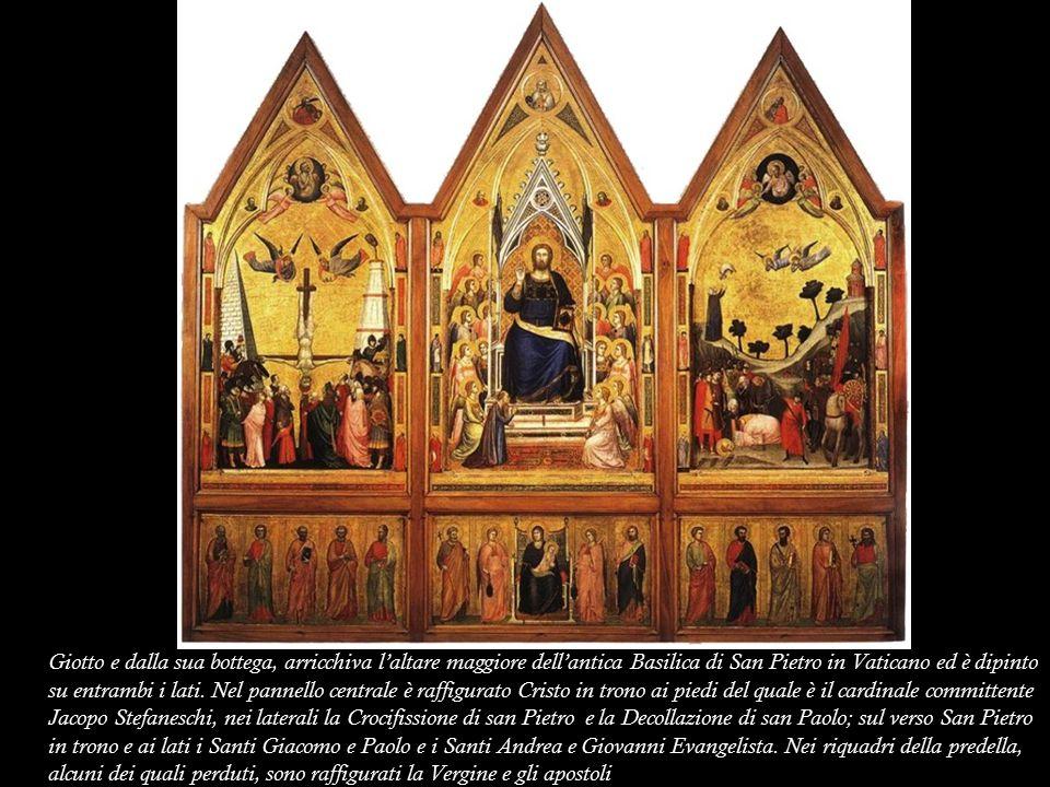 Giotto e dalla sua bottega, arricchiva l'altare maggiore dell'antica Basilica di San Pietro in Vaticano ed è dipinto su entrambi i lati.