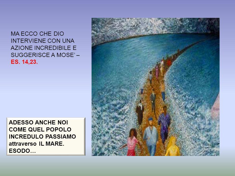 MA ECCO CHE DIO INTERVIENE CON UNA AZIONE INCREDIBILE E SUGGERISCE A MOSE' –ES. 14,23.