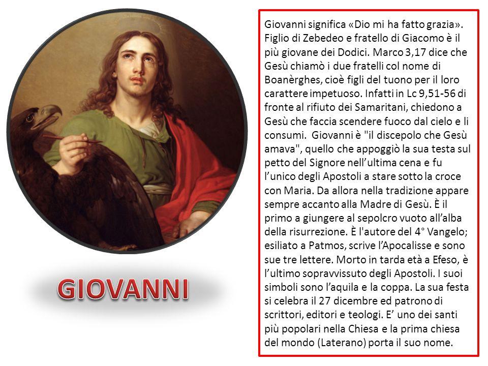 Giovanni significa «Dio mi ha fatto grazia»