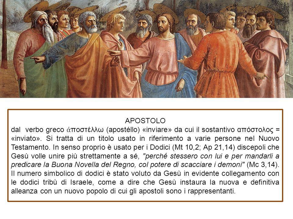 APOSTOLO dal verbo greco ἀποστέλλω (apostéllo) «inviare» da cui il sostantivo απόστολος = «inviato».