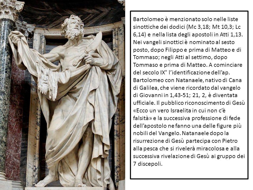 Bartolomeo è menzionato solo nelle liste sinottiche dei dodici (Mc 3,18; Mt 10,3; Lc 6,14) e nella lista degli apostoli in Atti 1,13.