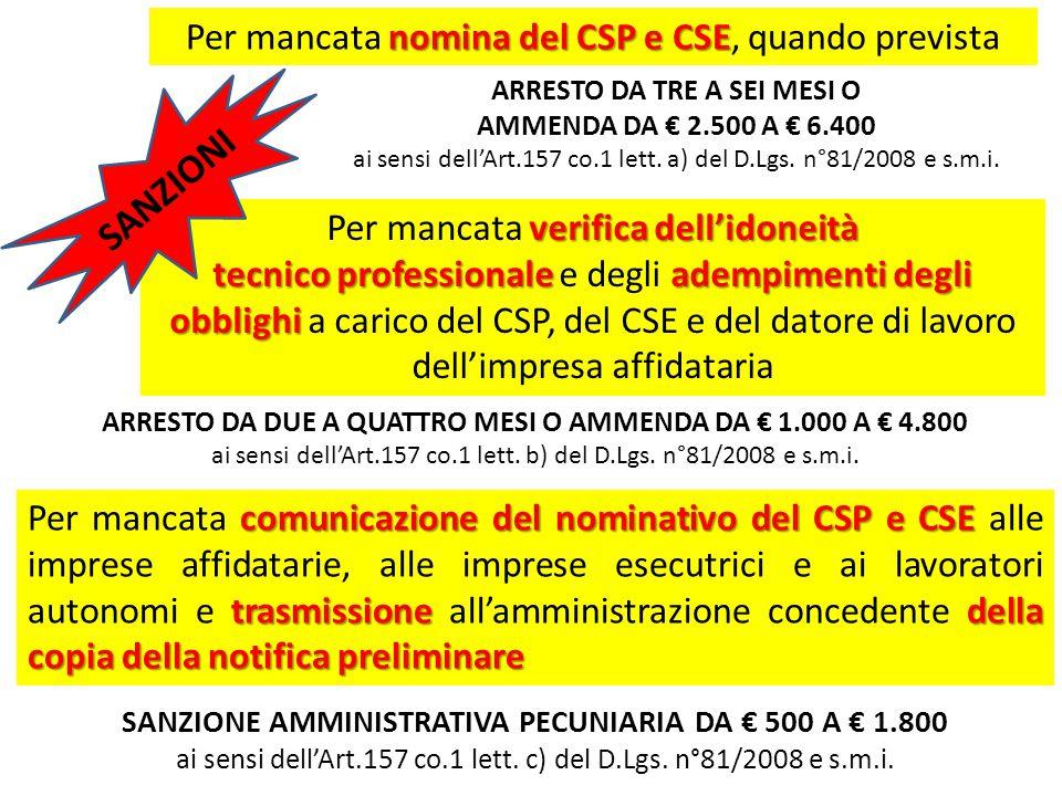 SANZIONI Per mancata nomina del CSP e CSE, quando prevista