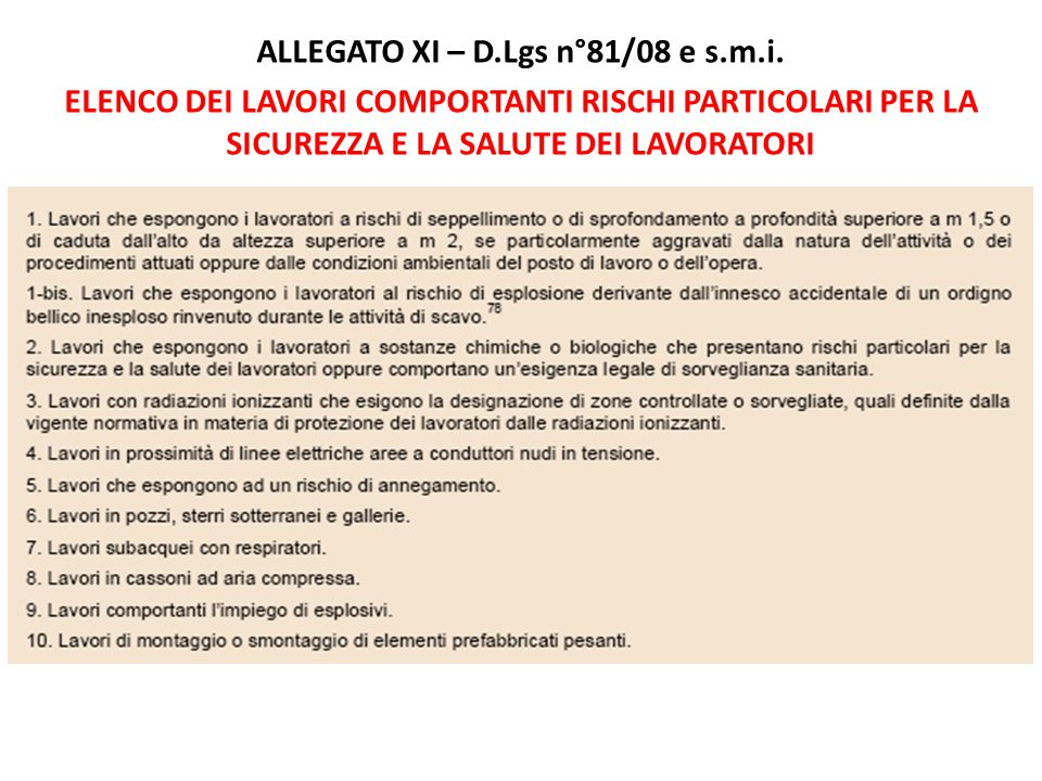 ALLEGATO XI – D.Lgs n°81/08 e s.m.i.
