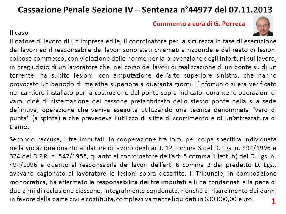 Cassazione Penale Sezione IV – Sentenza n°44977 del 07.11.2013