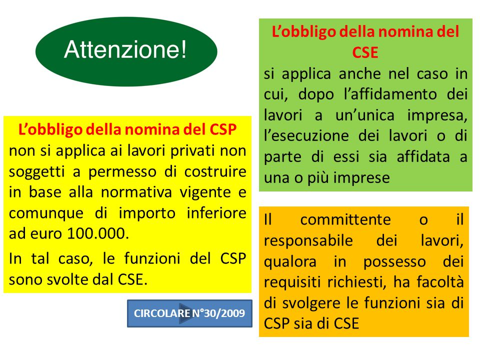 L'obbligo della nomina del CSE L'obbligo della nomina del CSP