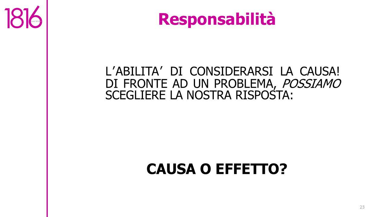 Responsabilità CAUSA O EFFETTO