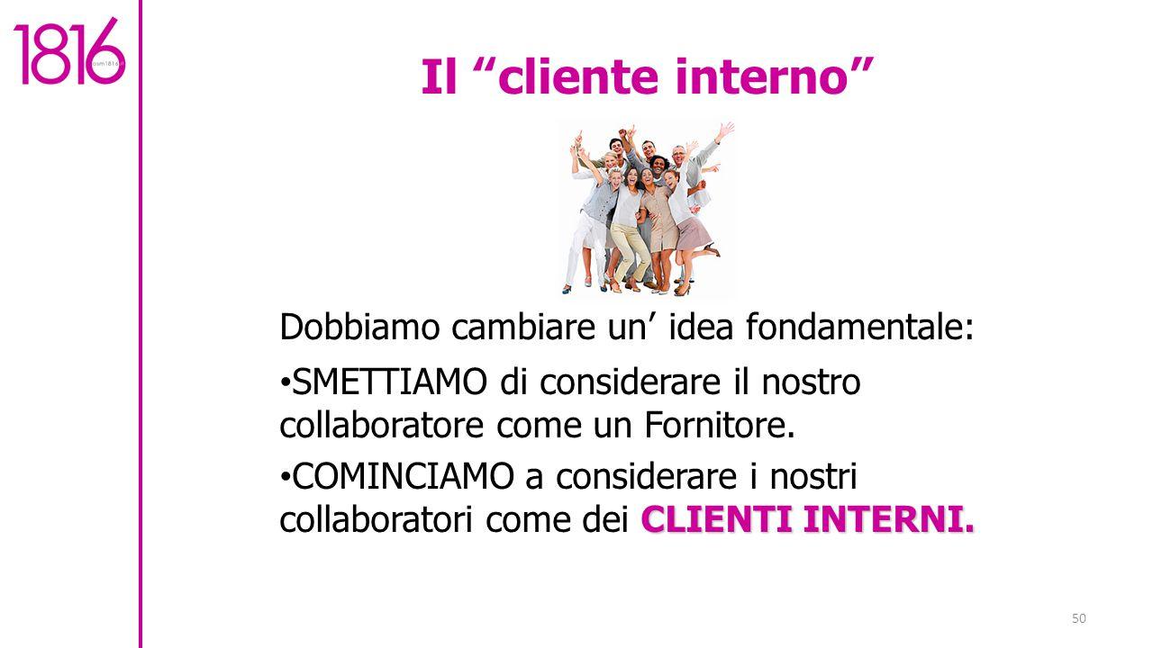 Il cliente interno Dobbiamo cambiare un' idea fondamentale: