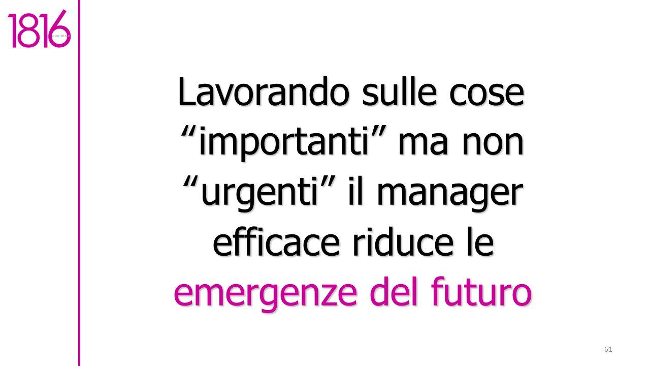Lavorando sulle cose importanti ma non urgenti il manager efficace riduce le emergenze del futuro