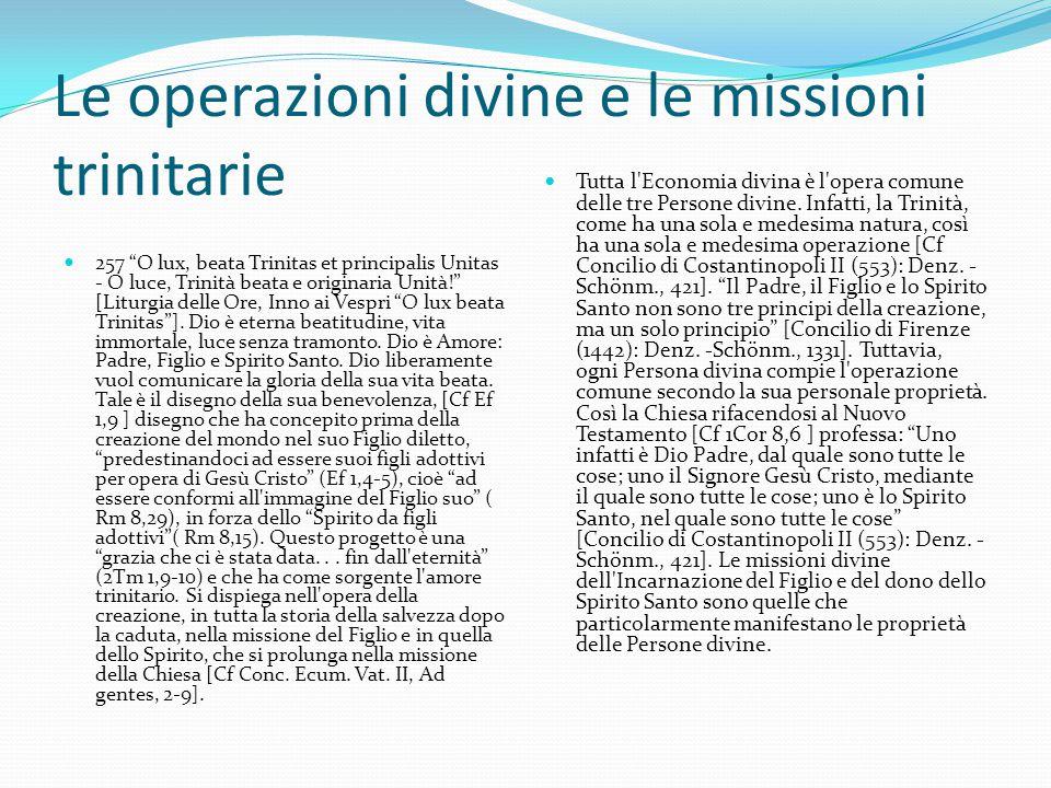 Le operazioni divine e le missioni trinitarie