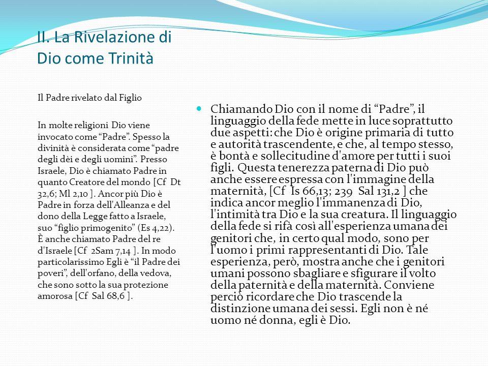 II. La Rivelazione di Dio come Trinità