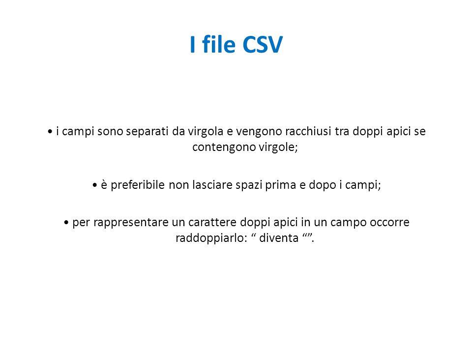 I file CSV