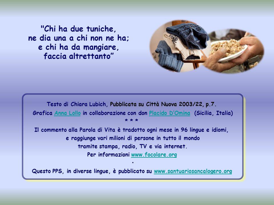 Testo di Chiara Lubich, Pubblicata su Città Nuova 2003/22, p.7.