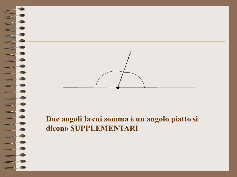 Due angoli la cui somma è un angolo piatto si dicono SUPPLEMENTARI