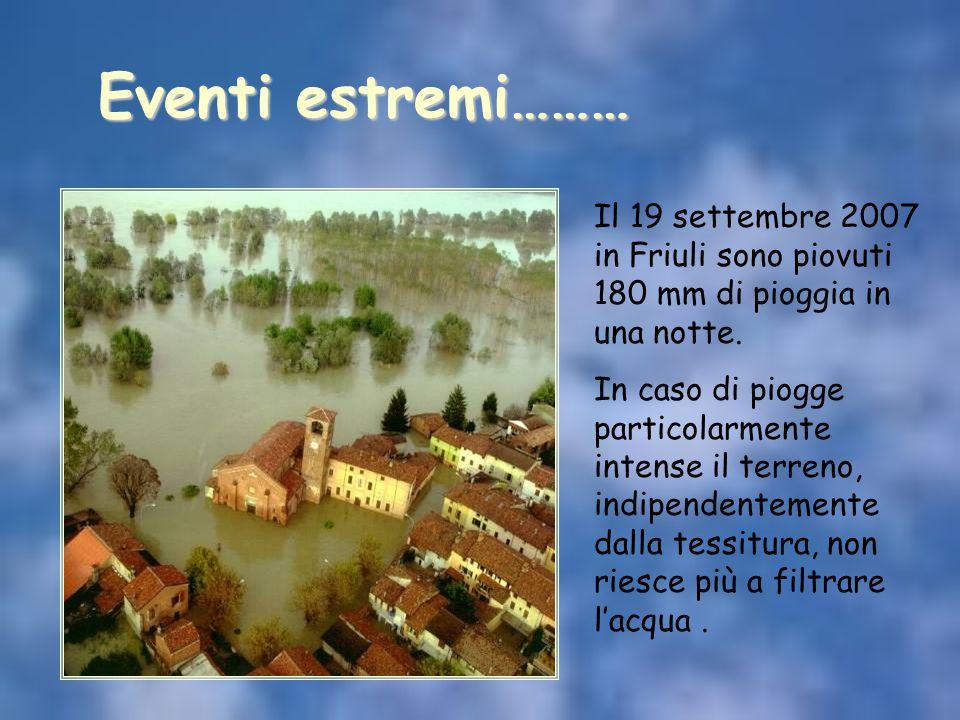 Eventi estremi……… Il 19 settembre 2007 in Friuli sono piovuti 180 mm di pioggia in una notte.