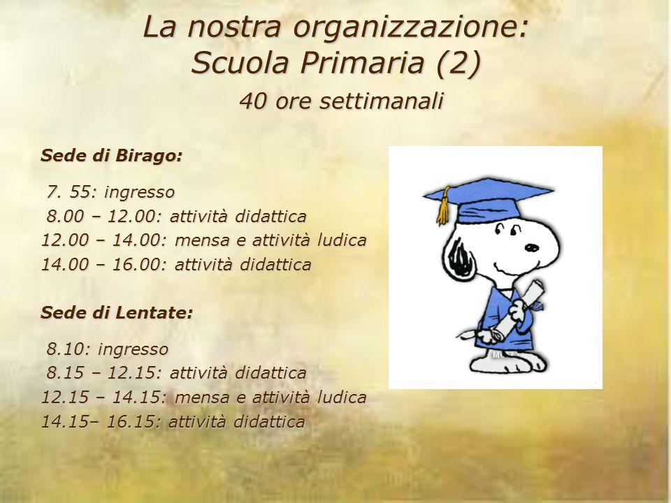 La nostra organizzazione: Scuola Primaria (2) 40 ore settimanali