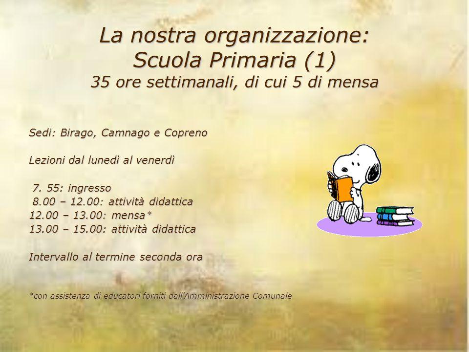 La nostra organizzazione: Scuola Primaria (1) 35 ore settimanali, di cui 5 di mensa