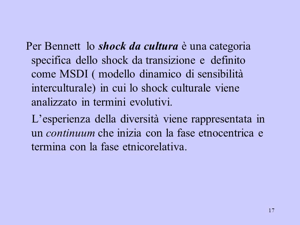 Per Bennett lo shock da cultura è una categoria specifica dello shock da transizione e definito come MSDI ( modello dinamico di sensibilità interculturale) in cui lo shock culturale viene analizzato in termini evolutivi.