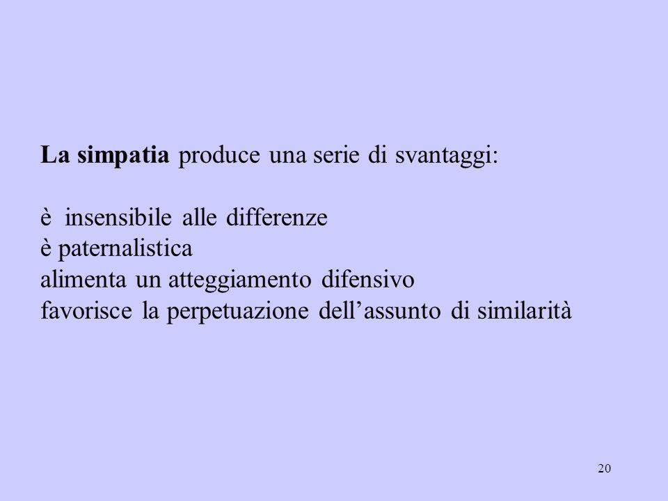 La simpatia produce una serie di svantaggi: è insensibile alle differenze è paternalistica alimenta un atteggiamento difensivo favorisce la perpetuazione dell'assunto di similarità