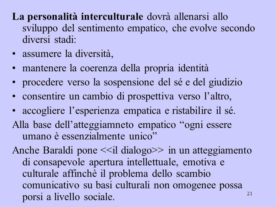 La personalità interculturale dovrà allenarsi allo sviluppo del sentimento empatico, che evolve secondo diversi stadi: