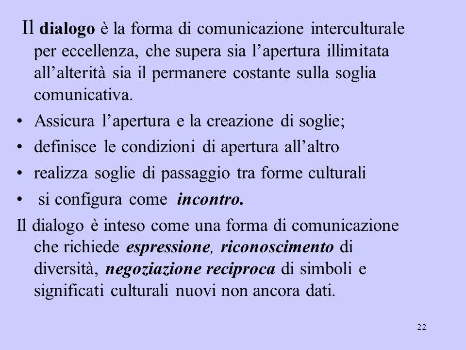 Il dialogo è la forma di comunicazione interculturale per eccellenza, che supera sia l'apertura illimitata all'alterità sia il permanere costante sulla soglia comunicativa.