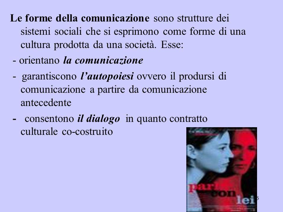 Le forme della comunicazione sono strutture dei sistemi sociali che si esprimono come forme di una cultura prodotta da una società. Esse: