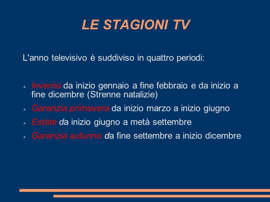 LE STAGIONI TV L anno televisivo è suddiviso in quattro periodi: