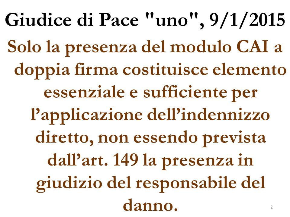 Giudice di Pace uno , 9/1/2015