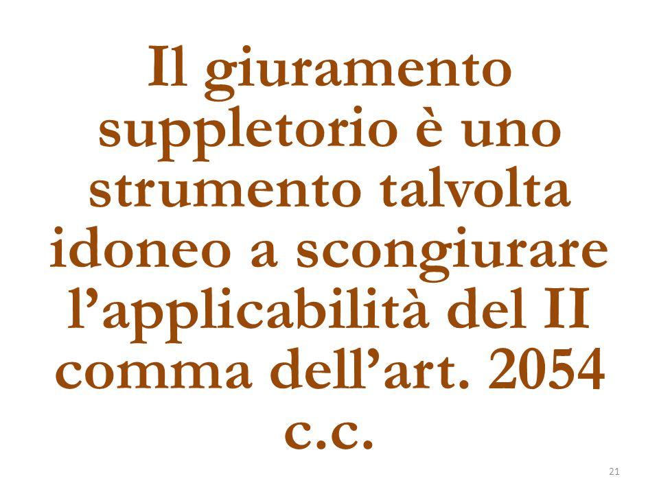 Il giuramento suppletorio è uno strumento talvolta idoneo a scongiurare l'applicabilità del II comma dell'art.