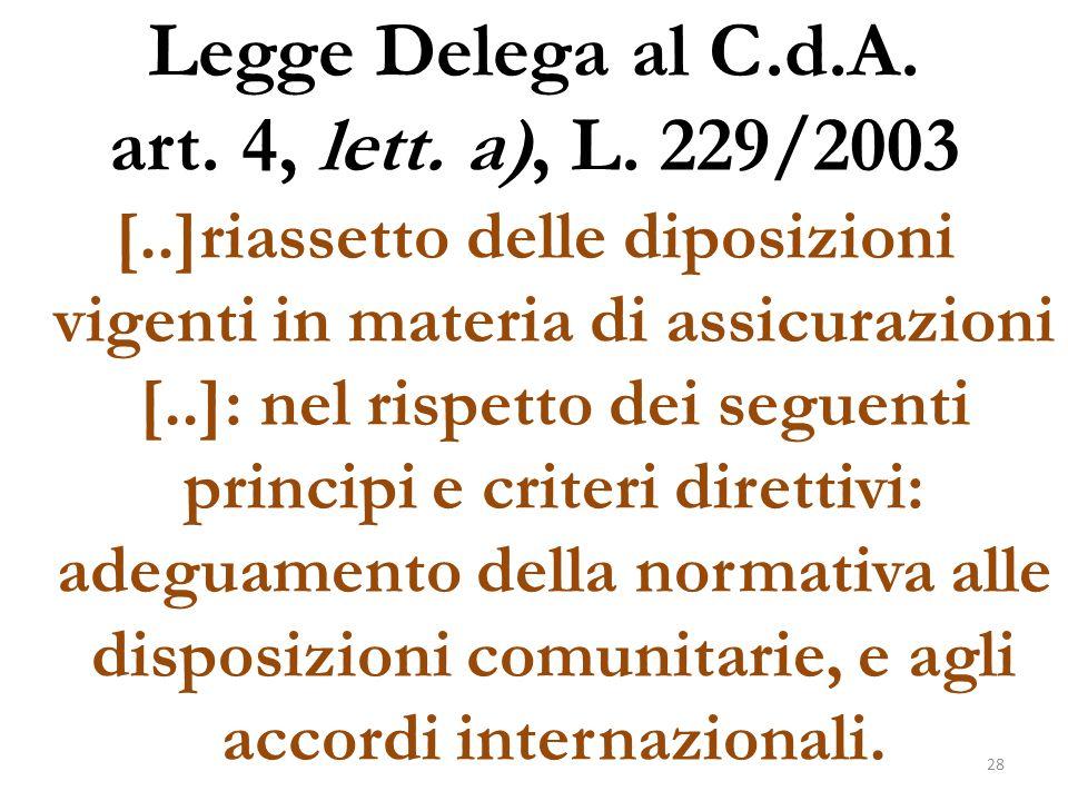 Legge Delega al C.d.A. art. 4, lett. a), L. 229/2003