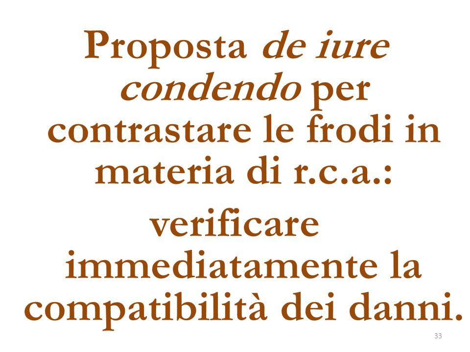 Proposta de iure condendo per contrastare le frodi in materia di r. c