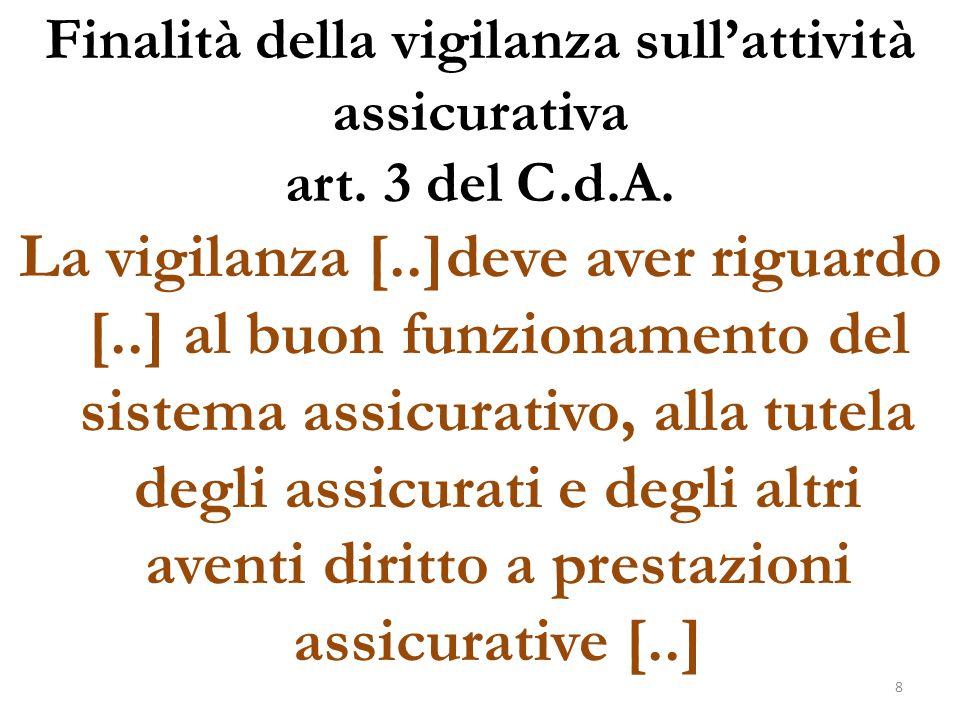Finalità della vigilanza sull'attività assicurativa art. 3 del C.d.A.