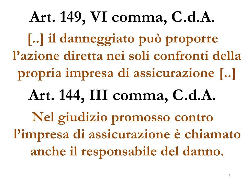 Art. 149, VI comma, C.d.A. Art. 144, III comma, C.d.A.