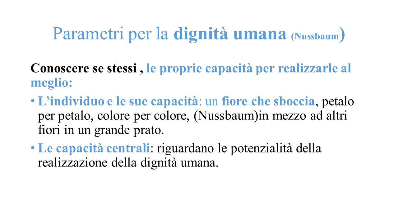 Parametri per la dignità umana (Nussbaum)