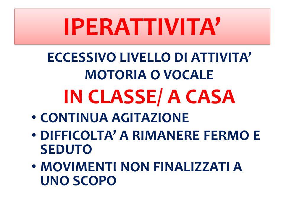 ECCESSIVO LIVELLO DI ATTIVITA'