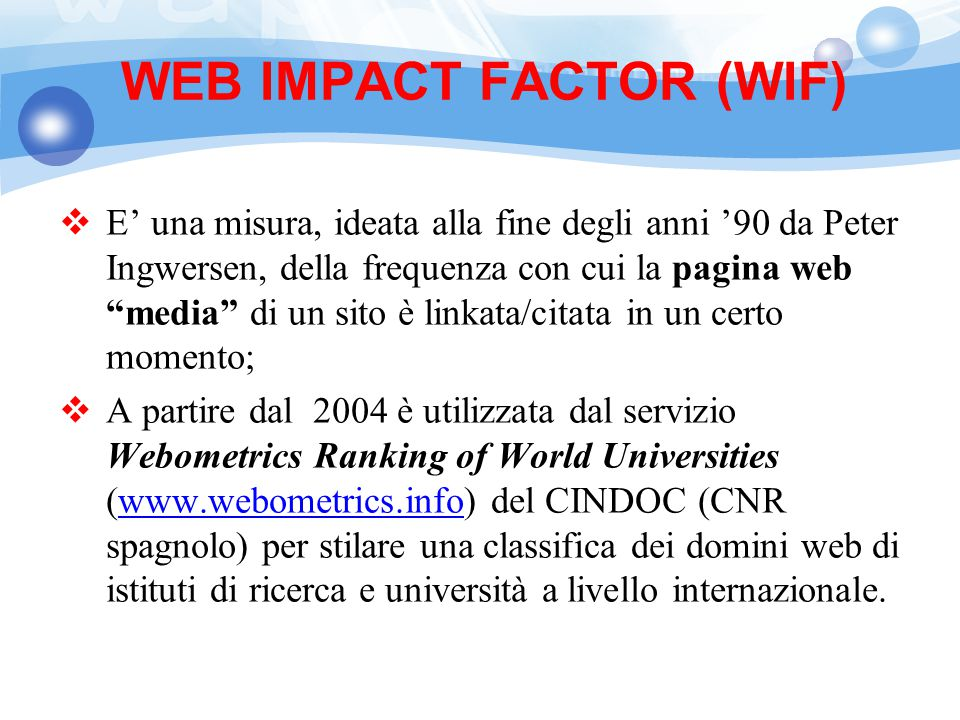 WEB IMPACT FACTOR (WIF)