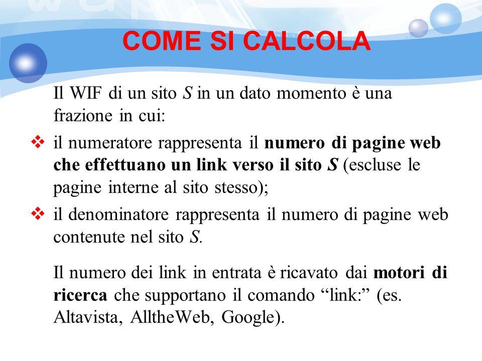 COME SI CALCOLA Il WIF di un sito S in un dato momento è una frazione in cui: