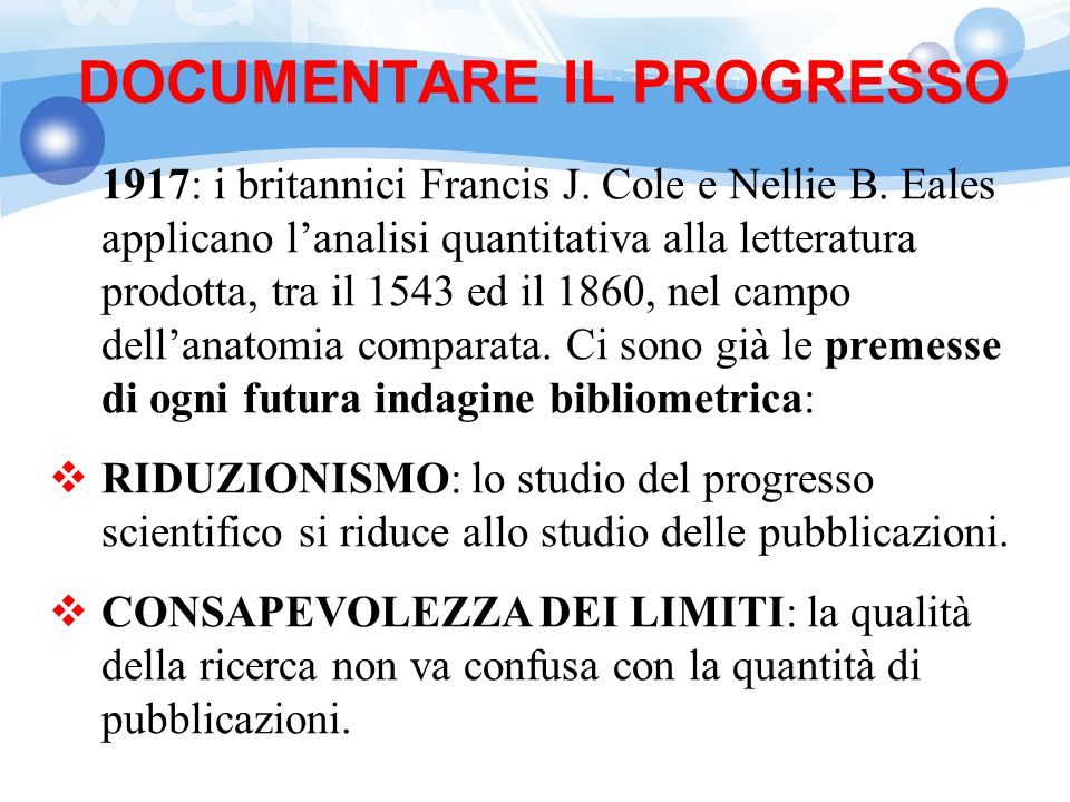 DOCUMENTARE IL PROGRESSO