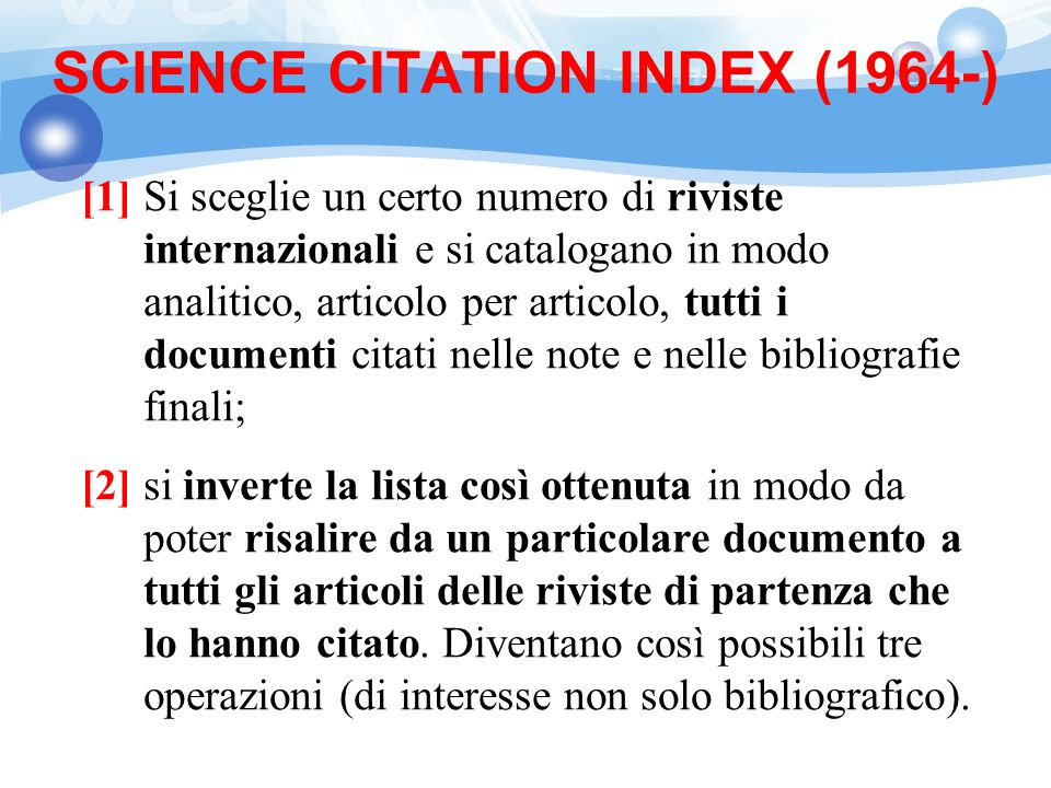 SCIENCE CITATION INDEX (1964-)