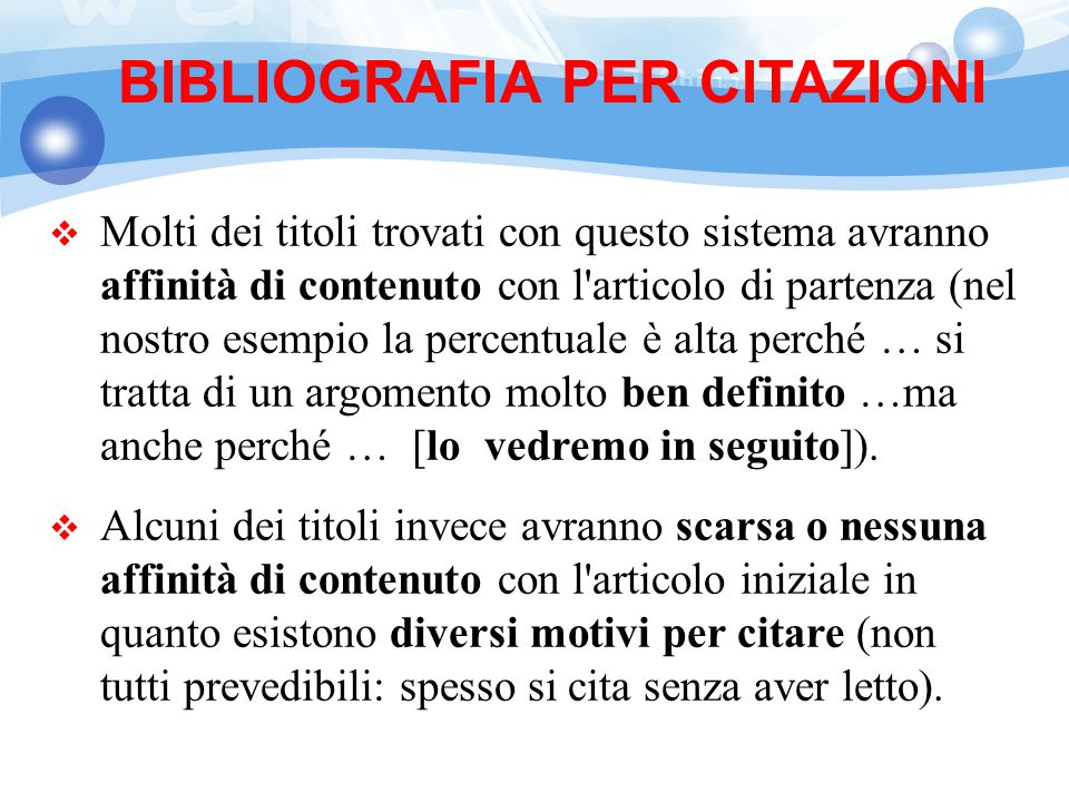 BIBLIOGRAFIA PER CITAZIONI