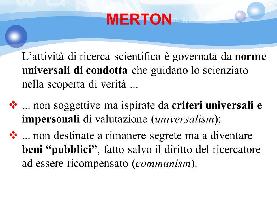 MERTON L'attività di ricerca scientifica è governata da norme universali di condotta che guidano lo scienziato nella scoperta di verità ...