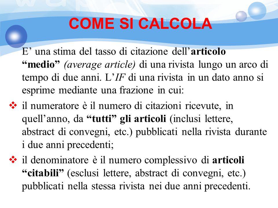 COME SI CALCOLA